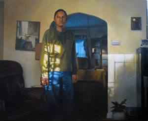 painting of man standing in common room