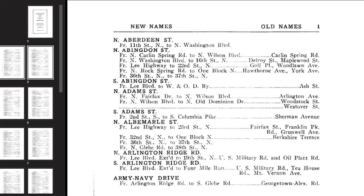 page 1 from the Arlington County Virginia Directory of Street Names, 1935
