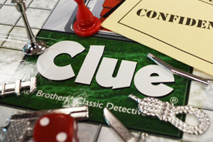 close up of Clue game board
