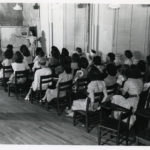 """Women in classroom, Arlington Hall Station, 1940s. Pg. 20 in """"The Secrets of Arlington Hall"""" by Ernest Goldstein –""""Anonymous thousands of young women, who were recruited from the hills and small towns of the South, made a major contribution to the success of Arlington Hall, without either the satisfaction of fully understanding what they were doing or of receiving recognition."""""""