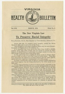 "Front page of the Virginia Health Bulletin from March 1942, showing the headline ""To Preserve Racial Integrity"""