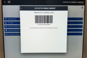 photo of a digital barcode in the app
