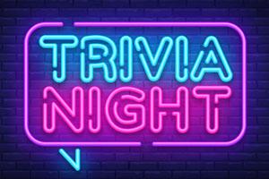 Trivia night announcement neon signboard