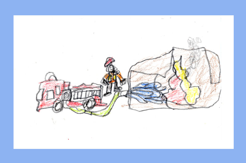 child's drawing of a firefighter spraying water on the Pentagon