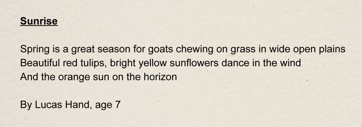 """This is a poem about the countryside in the spring. (Written by Lucas Hand, age 7, 2nd Grade, Glebe Elementary School)"""""""