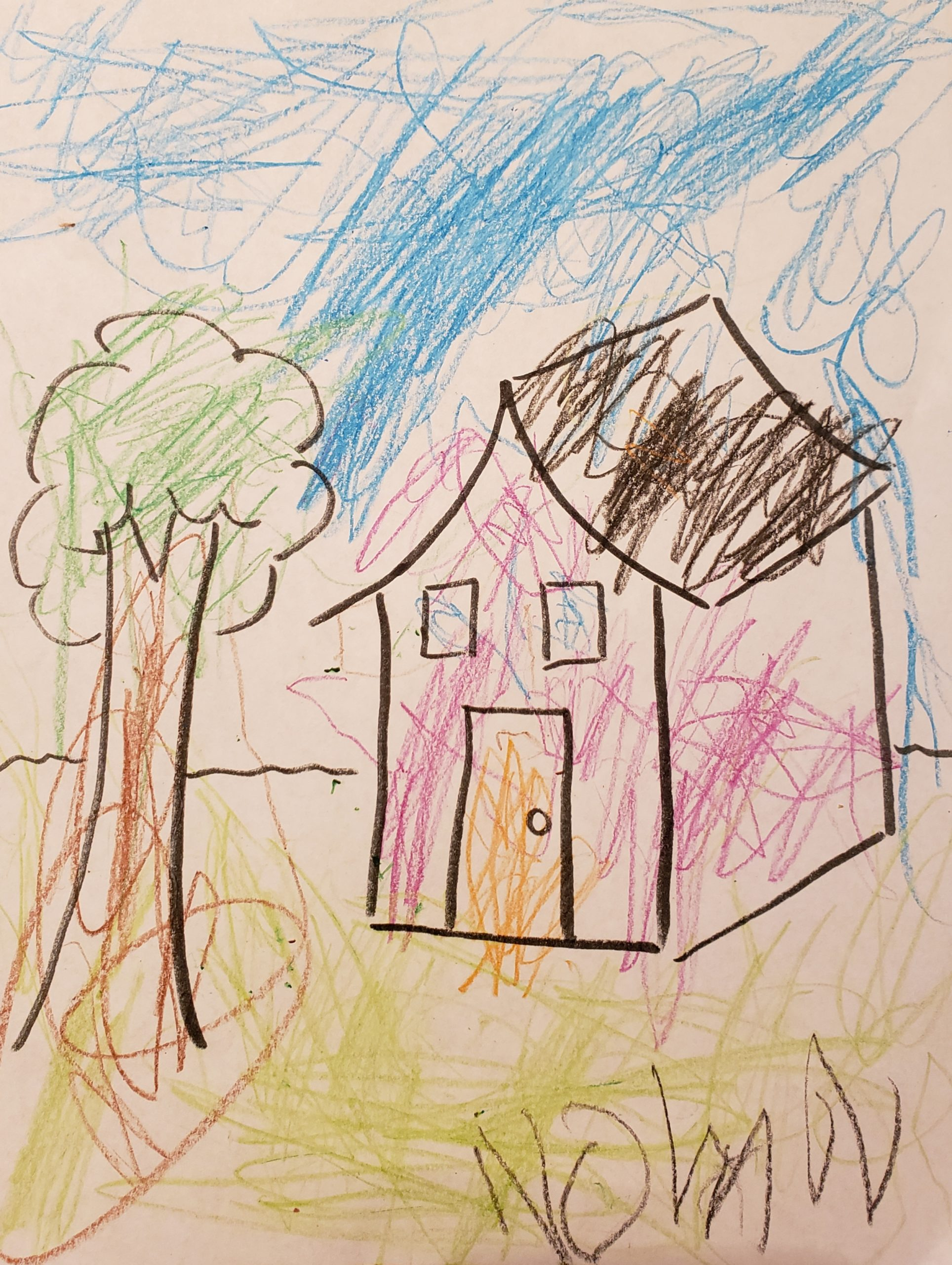 7 year old Nolan has been having trouble adjusting to all the recent changes, especially as a child on the autism spectrum. He finds comfort in playing outside, singing his original songs, and coloring (like the image you see here).