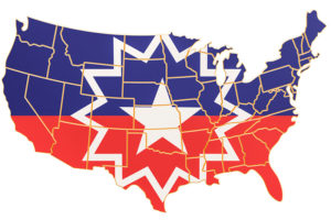 Juneteenth flag on the map of the USA.