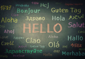 Hello written on a chlak board in many languages